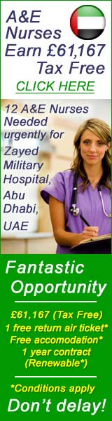 �61,167 tax free A&E nurses needed urgently for Abh Dhabi, UAE